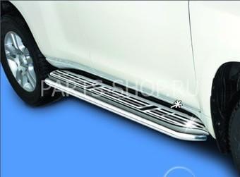 Накладки на ступени и на задний бампер LC150 (нерж. сталь комлект)