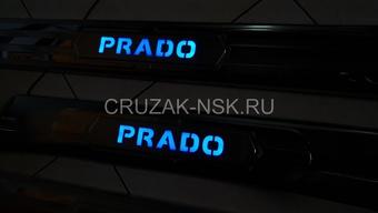 Внутрисалонные пороги с неоновой подсветкой из нержавейки на 120 Prado