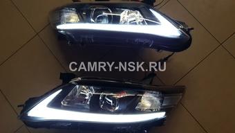 Фары линзовые с ходовыми огнями camry40 стиль lexus (хром или черные)