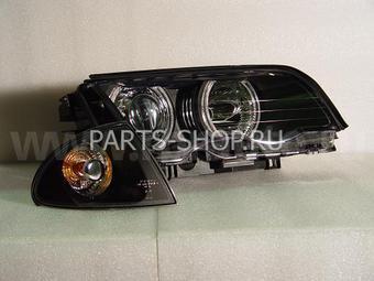 Фары линзовые черные BMW E46 с ангельскими глазками