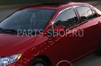 Молдинги на стекла дверей верхние Corolla хром (комплект 4 части, нерж.)