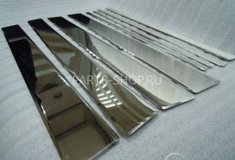 Молдинги вертикальные LC200 металлические, хромированные (8 частей)