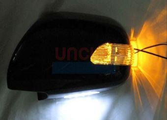 Корпуса зеркал с диодным повторителем поворота и подсветкой снизу LC120 (черн., бел., сереб либо под покраску)