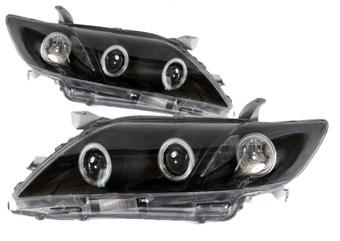 Оптика передняя линзовая ангельские глазки Camry40 (черная)