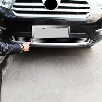 Решетка в бампер горизонтальные полосы Highlander 2011-2013