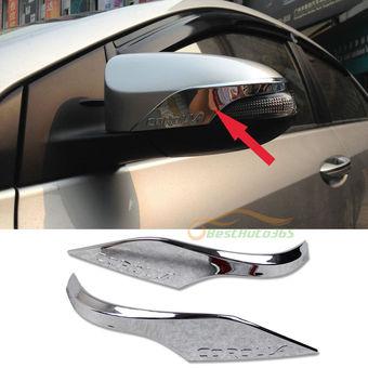 Хромированные накладки на зеркала с логотипом Corolla 2013-