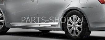 Боковые молдинги хромированные, широкие по низу двери Corolla
