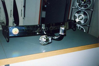 Фаркоп Toyota LC100 оцинкованный с пластиной из нержавейки (длинный крюк)