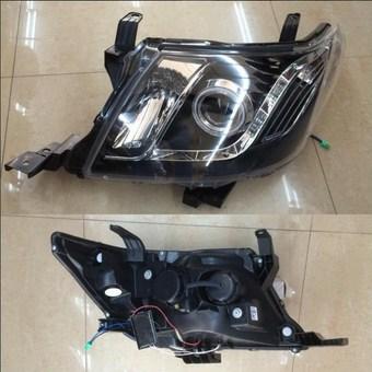 Фары передние линзовые, черные и хром Hilux 2011-