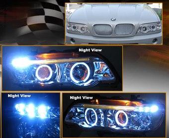 Фары хром BMW X5 линзовые с ангельскими глазками 00-04