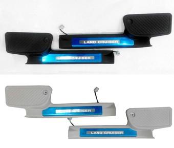 Накладки задних порогов lc200 с лого и подсветкой