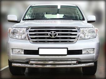 Защита переднего бампера Toyota LC200 двойная