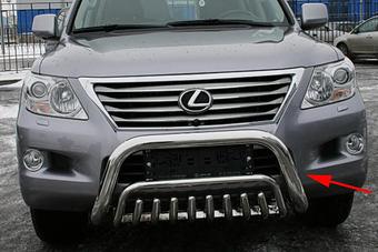 Защита переднего бампера LX570 низкая.