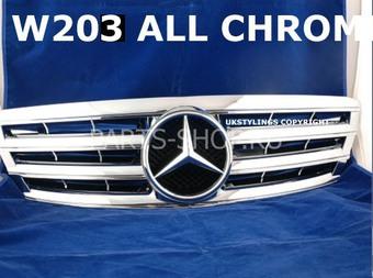 Решетка радиатора Mercedes C-Class хромированная (4 ламели)