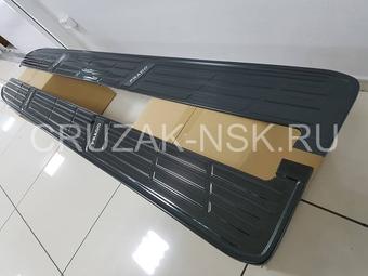 Накладки на штатные подножки prado 150, из металла (два цвета)