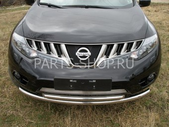 Защита переднего бампера двойная Nissan Murano 2008-2010
