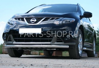 Защита переднего бампера двойная с защитой двигателя Nissan Murano 2010-