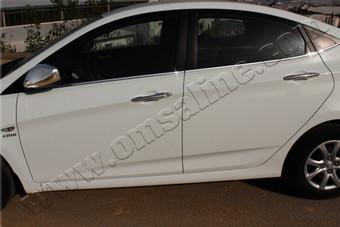 Молдинги стекол боковых дверей Hyundai Solaris (6 частей)