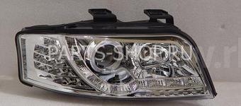 """Фары передние линзовые Audi A6 """"ангельские глазки"""" с диодной подсветкой"""