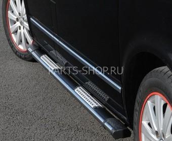 Пороги из нерж. на Nissan Navara 05-09