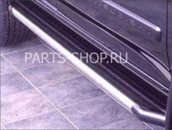 Пороги внешние из нержавеющей стали с черным алюминиевым профилем