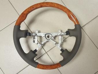 Руль классический на LC100 98-03 (серая, черная или бежевая кожа с тёмным либо светлым деревом)