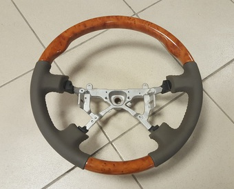 Руль классический LC90|95 кожанный с деревянными вставками