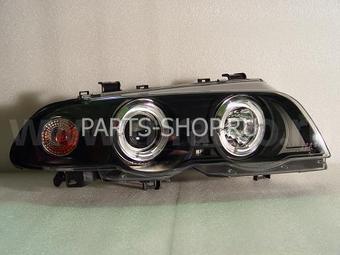 Фары передние линзовые черные ангельские глазки E46