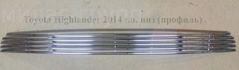 Решетка переднего бампера Highlander 2014 (полосы из нержавейки)