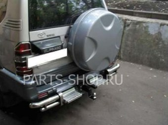 Защита заднего бампера Toyota Prado 90 углы+подножки+фаркоп