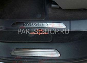 Накладки на пороги с логотипом Touareg 2010-