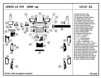LX570 2008-2015 интерьер салона под дерево (51 предмет)